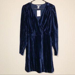 H&M Navy cross front burnout velvet dress